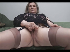 Granny in Stockings Removes..