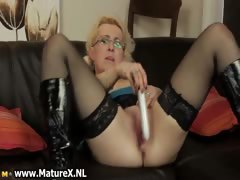 Horny blond housewife with..