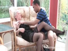 Blonde mature gets her tits..