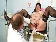 Busty elder woman gyn clinic..