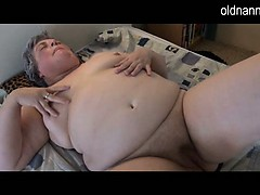Fat granny masturbating with..