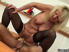 Old blonde is picked up be..