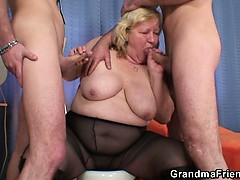 Huge titted grandma swallows..