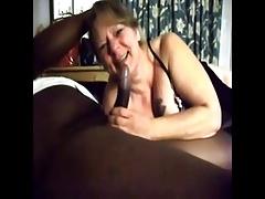 White Granny gives blowjob..