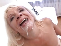 Blonde granny with tanline