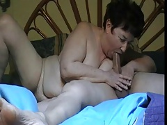 Obese granny gives a blowjob