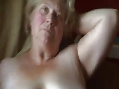 Fat granny shows pussy