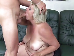 Blonde 50+ BBW pleases young..