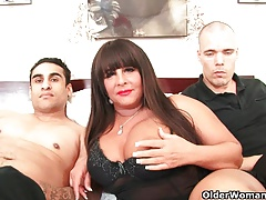 Busty milf gets facial in..