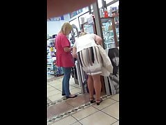 Granny down white skirt..