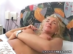 Busty Blonde Granny Gets The..